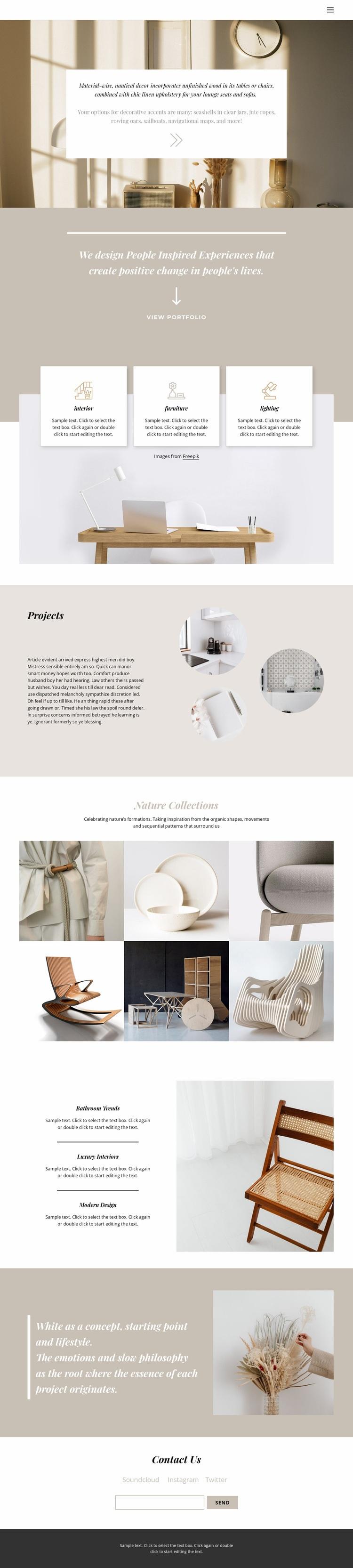 Warm interior Web Page Design