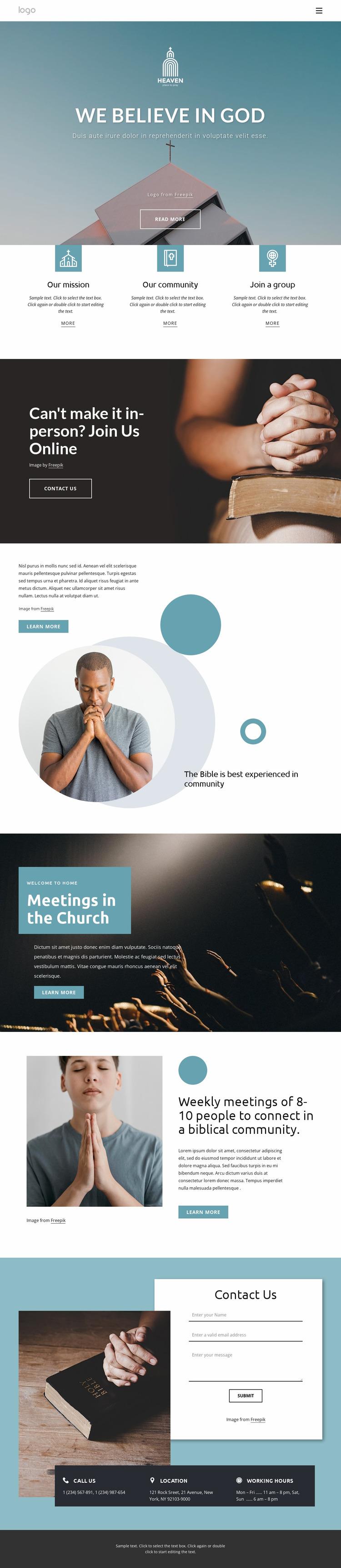 Family friendly church Website Mockup