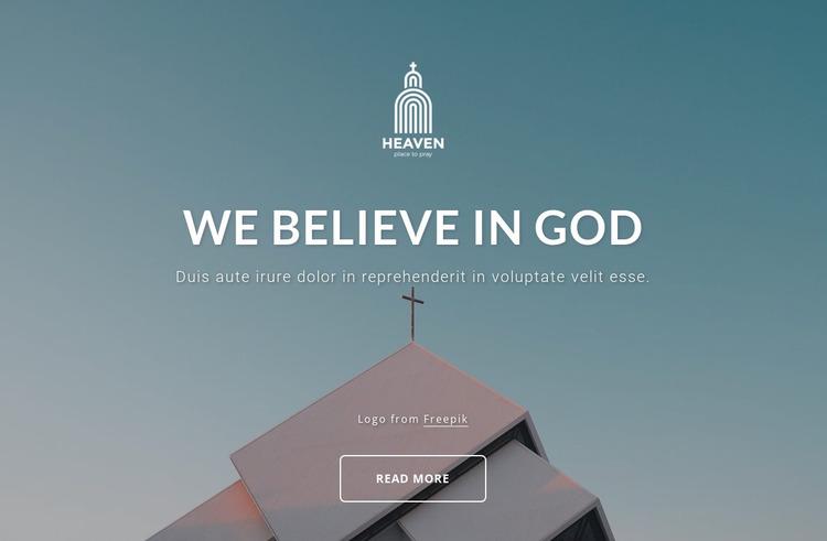 We belive in God Website Mockup