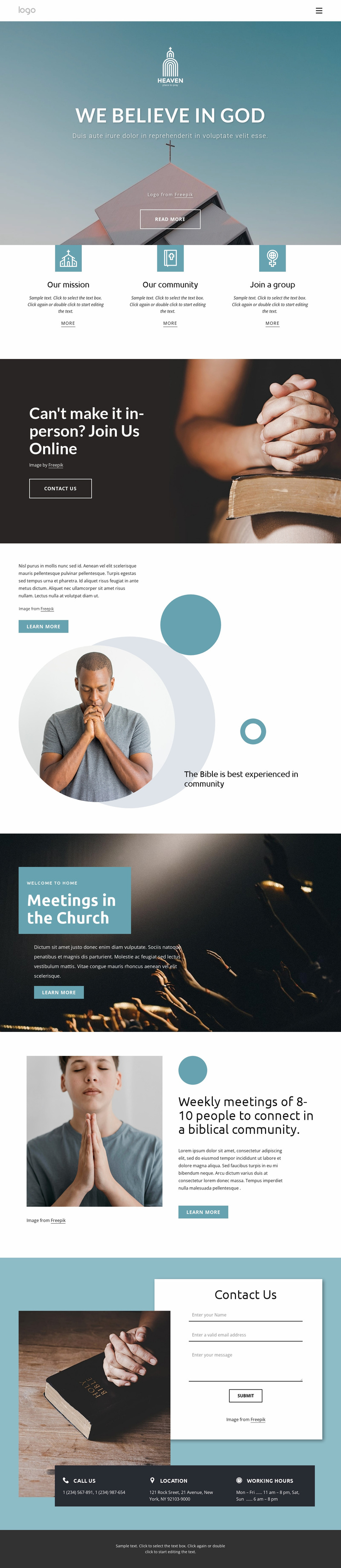 Family friendly church Website Template