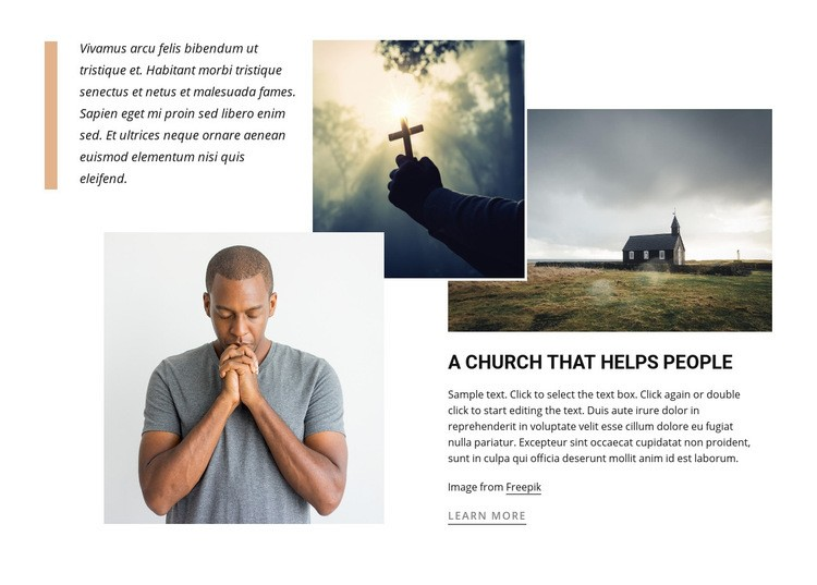 Church that helps people Web Page Designer