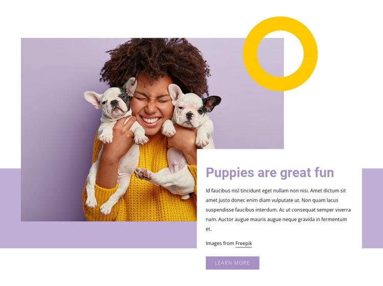 Pupples are great fun HTML Template