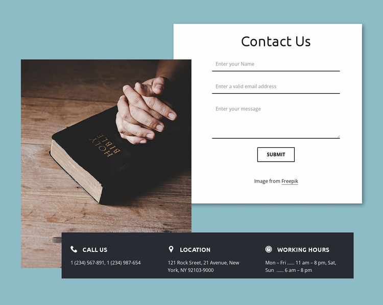 We would love to hear from you Website Mockup