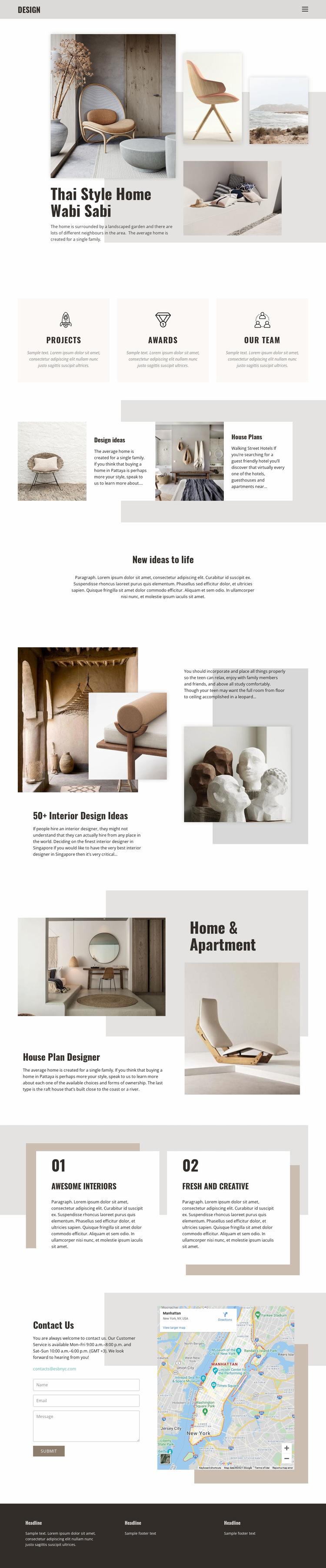 Thai home styling interior Website Builder Templates
