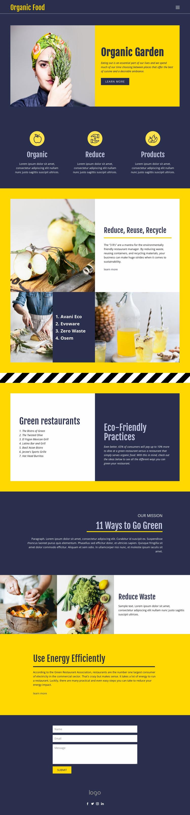 Eating essentials for food Website Mockup