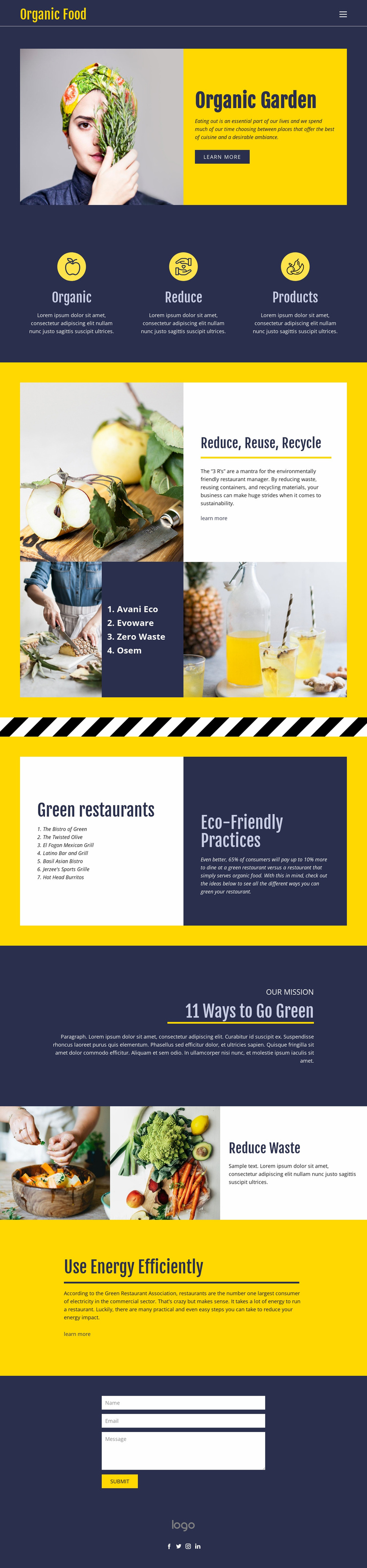 Eating essentials for food Website Template