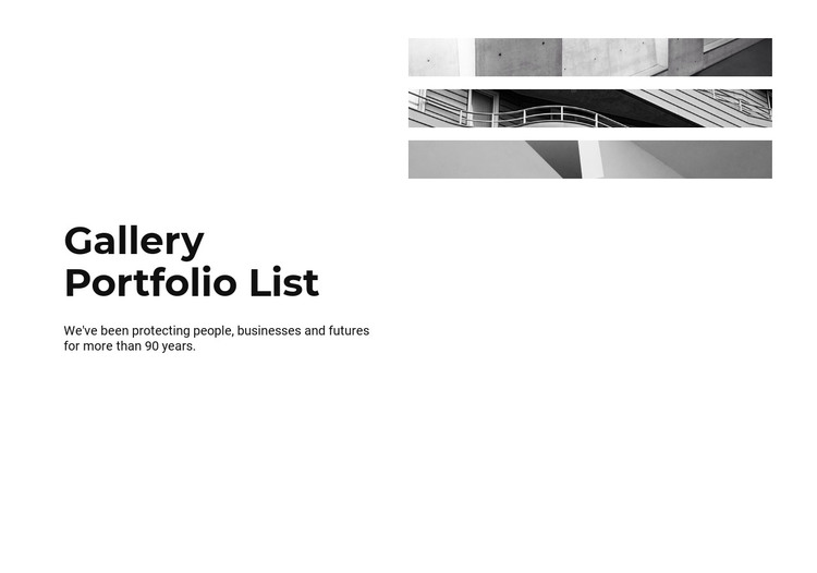 Gallery portfolio list HTML Template