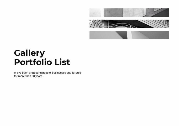 Gallery portfolio list Website Template