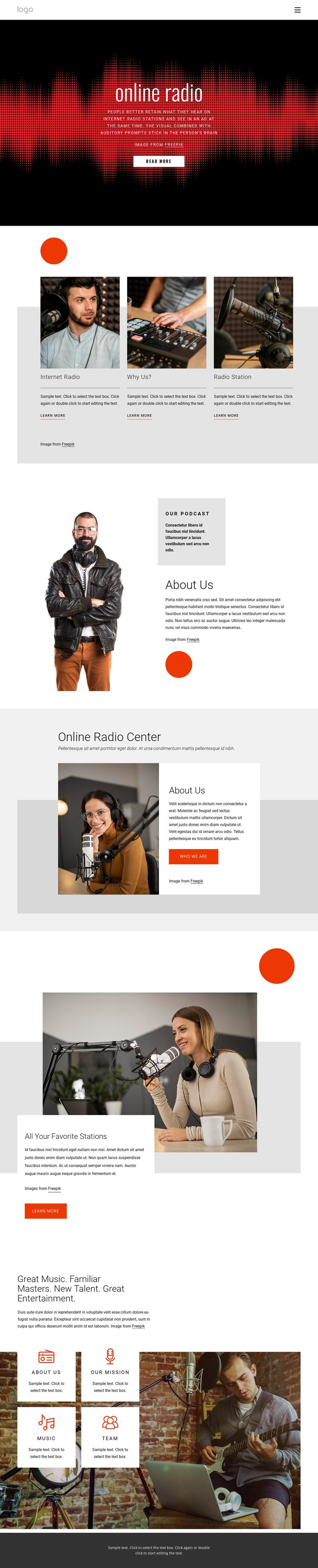 Online radio shows Web Page Designer