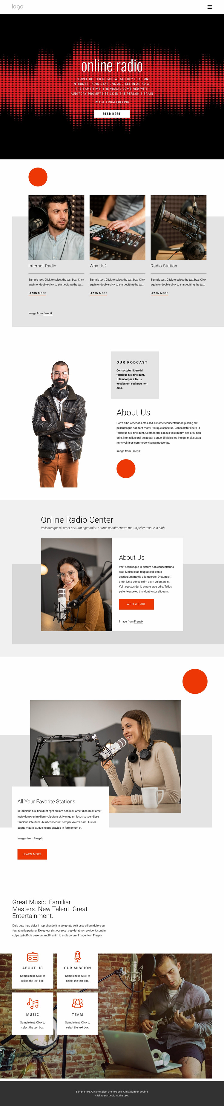 Online radio shows Website Mockup