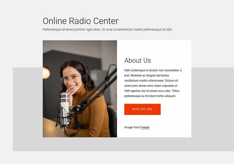 Online radio center Website Mockup