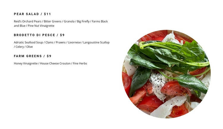 Salads on the menu Web Page Designer