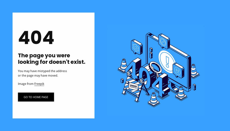 404 page not found Website Mockup