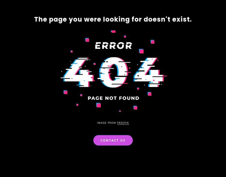 404 not found error message Website Mockup