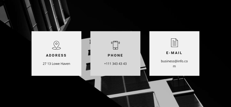 Address, phone and email Landing Page