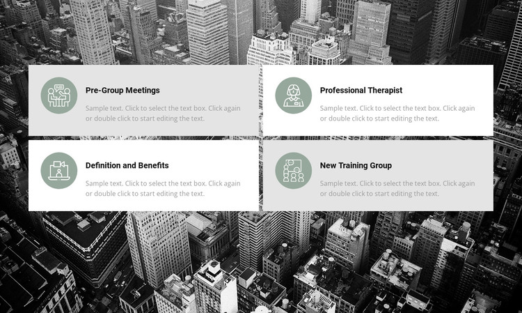 List of work areas HTML Template