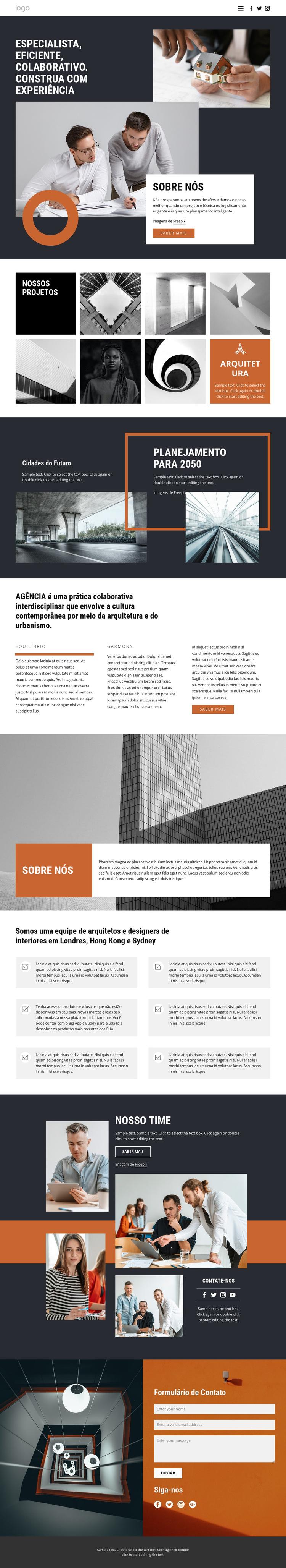 Grupo de projetos de arquitetos Modelo de site