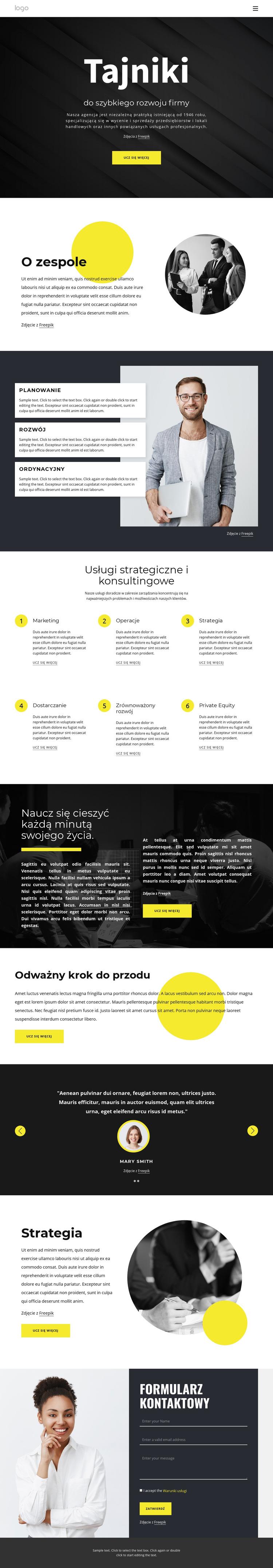 Sekrety rozwijającego się biznesu Szablon witryny sieci Web