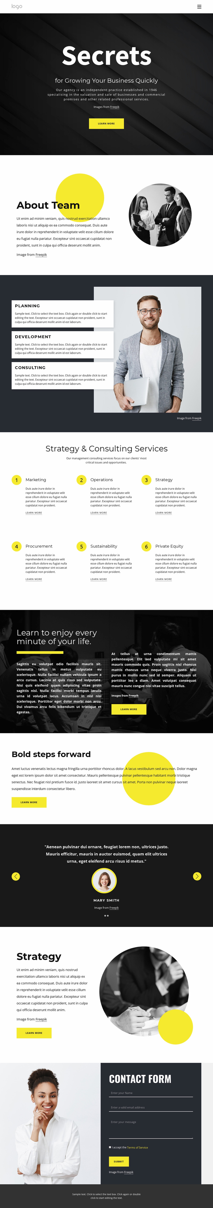 Secrets of growing business Website Template
