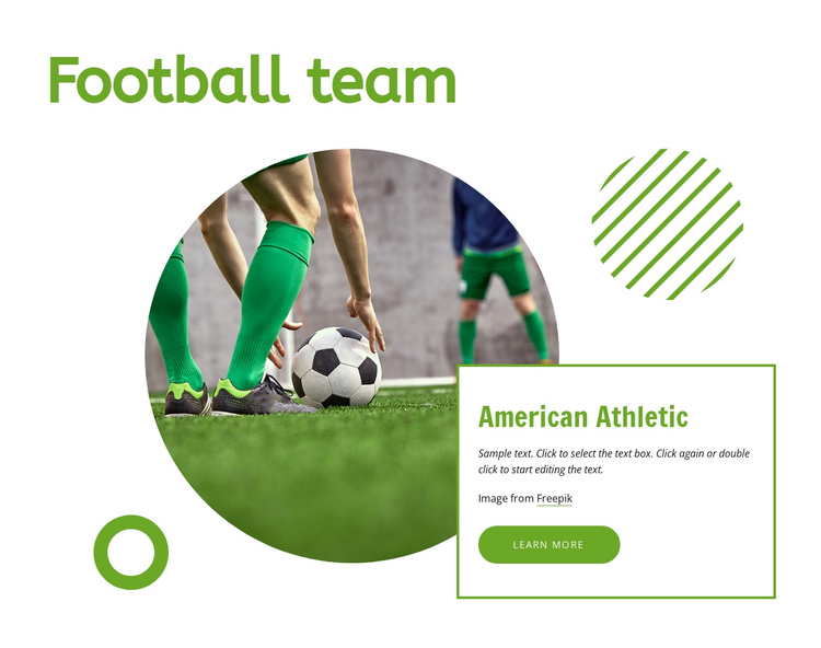 Football team One Page Template