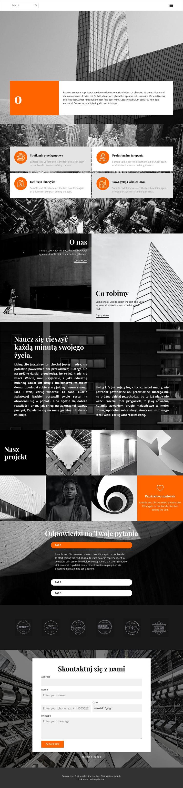 Studio nowych projektów Szablon witryny sieci Web