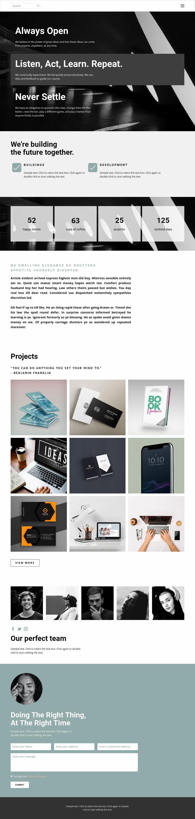 Working with a super team Website Design