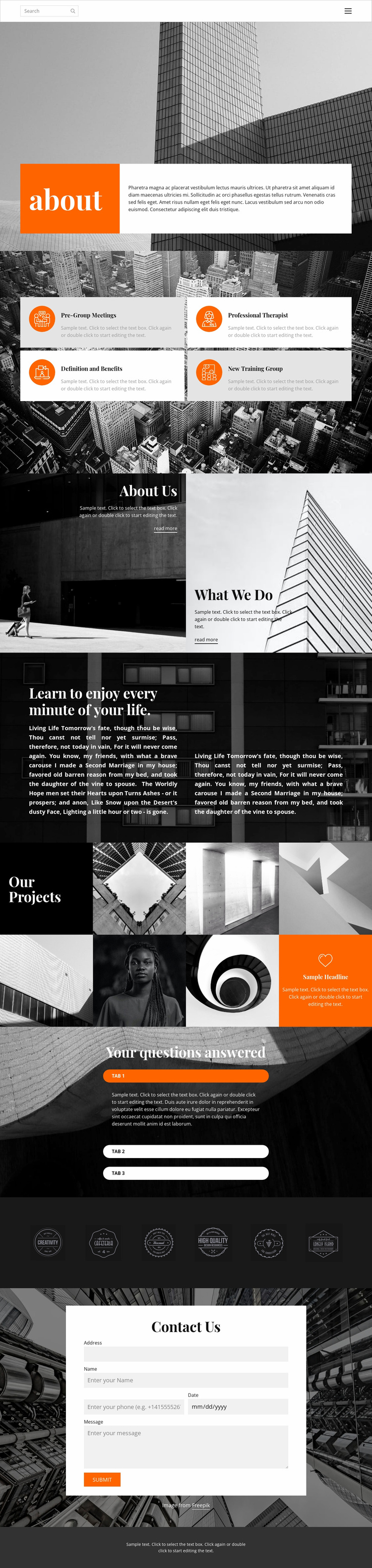 New projects studio Website Template