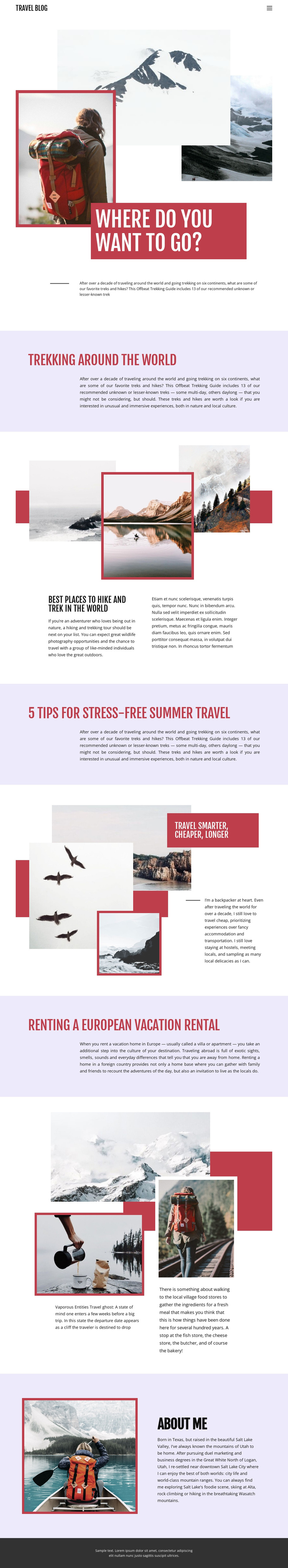 Exteme mountain travel One Page Template