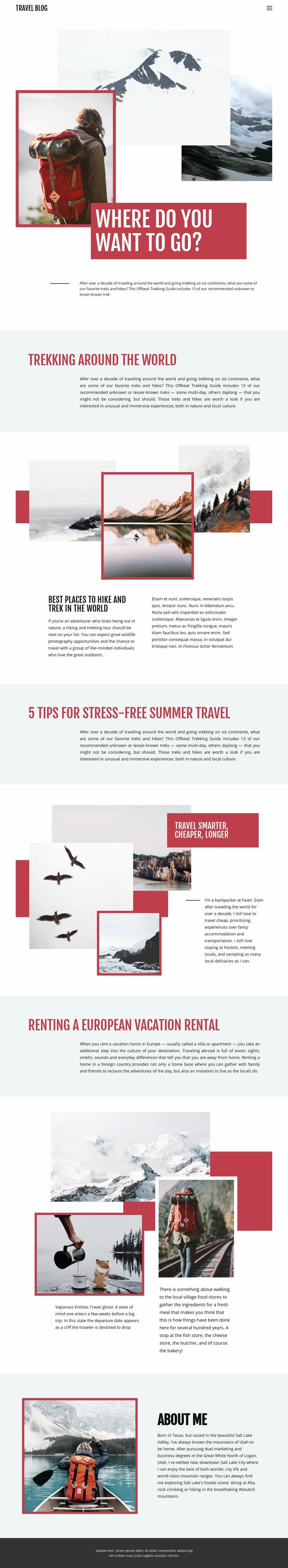 Exteme mountain travel Web Page Design