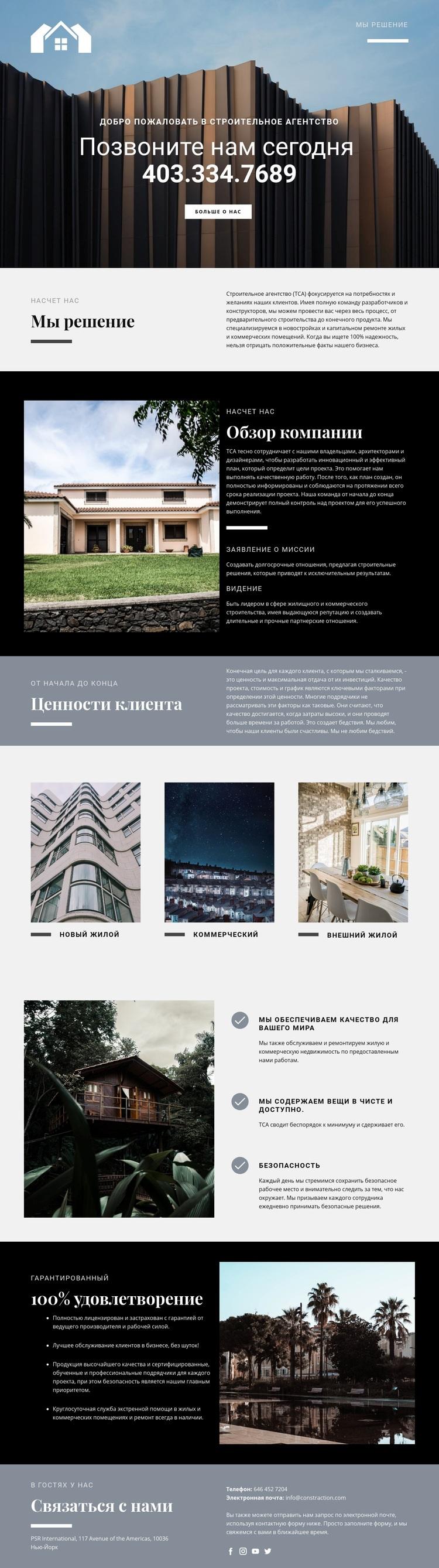 Решения для недвижимости WordPress Шаблон