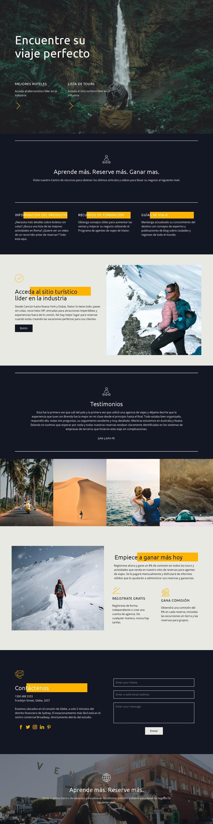 Encuentra tu viaje perfecto Plantilla de sitio web