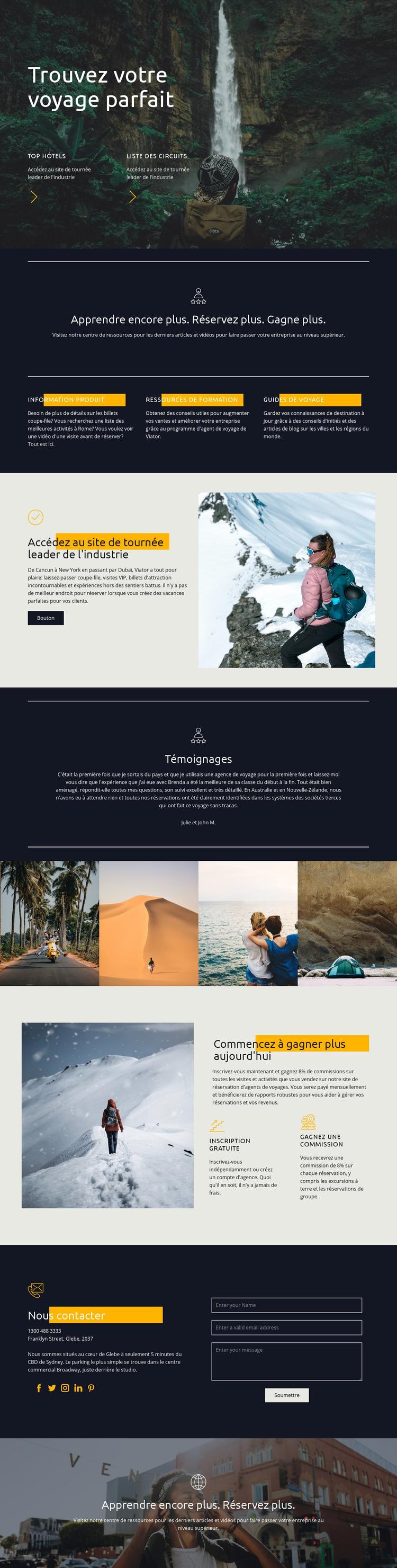 Trouvez votre voyage parfait Modèle de site Web