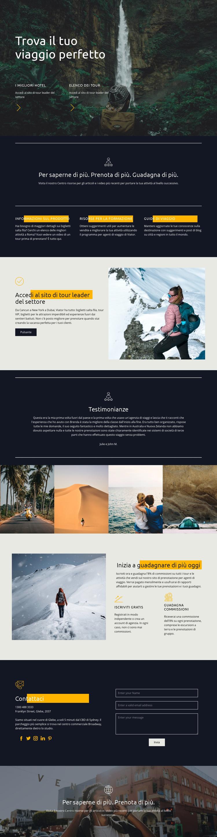 Trova il tuo viaggio perfetto Modello di sito Web