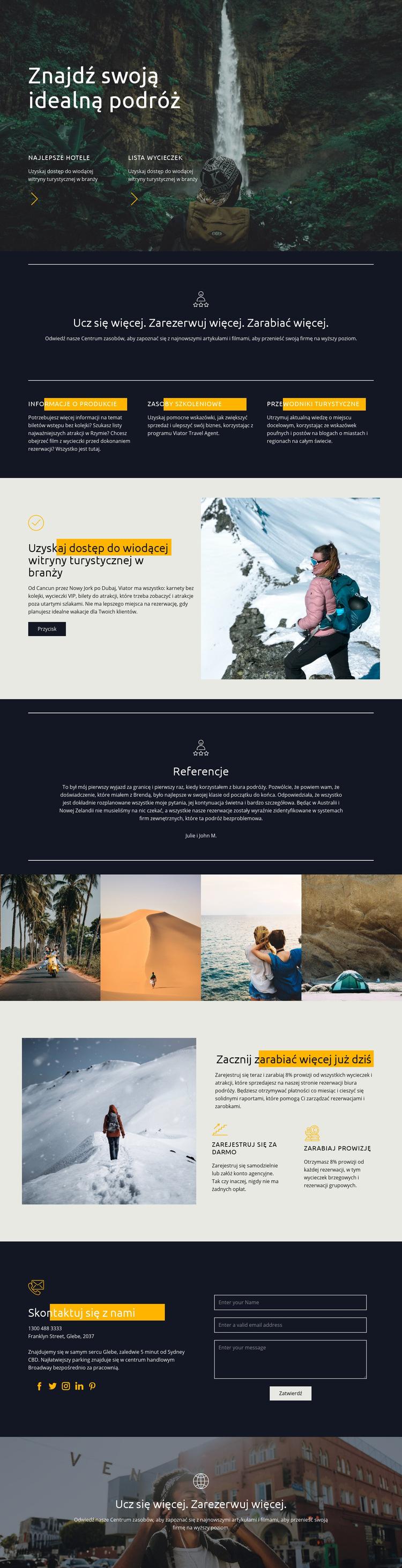 Znajdź idealną podróż Szablon witryny sieci Web