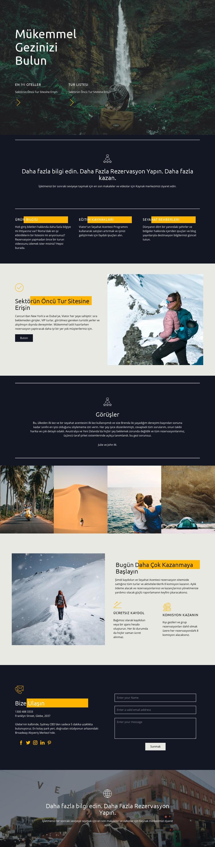 Mükemmel seyahatinizi bulun Web Sitesi Şablonu
