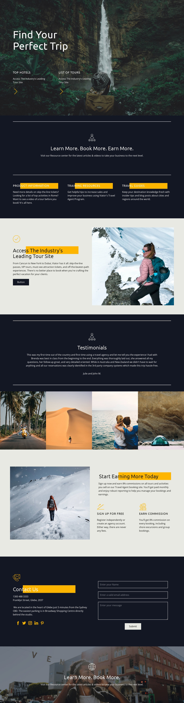 Find your perfect travel Website Mockup
