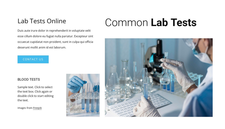 Common lab tests Website Builder Software