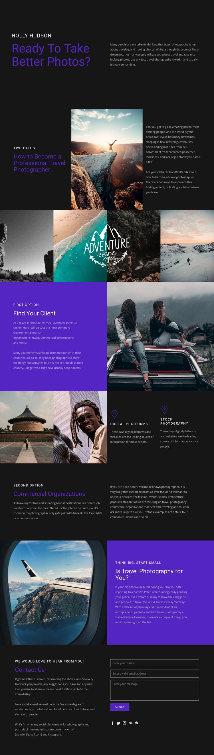 Travel and photography Web Page Design