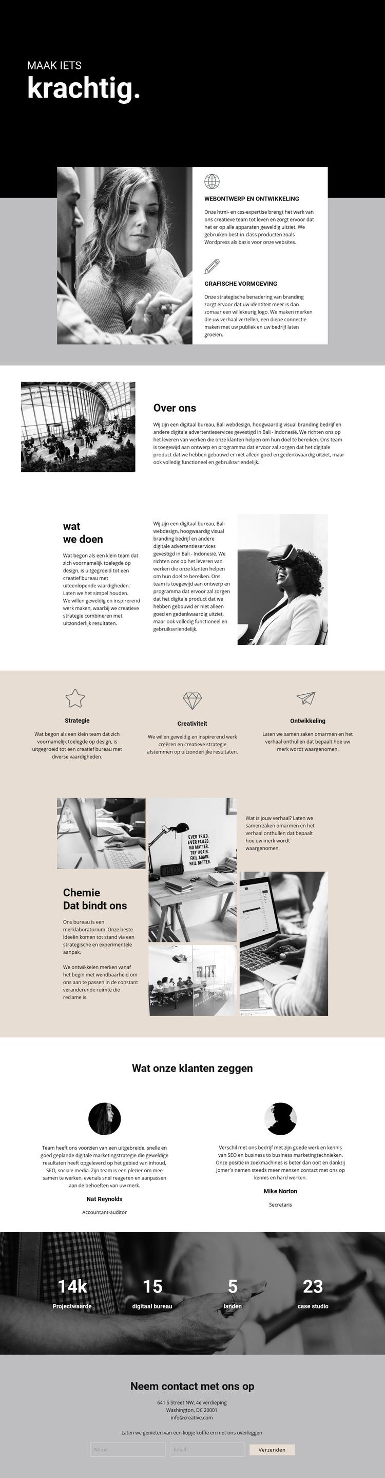 Kracht van digitaal zakendoen Website sjabloon
