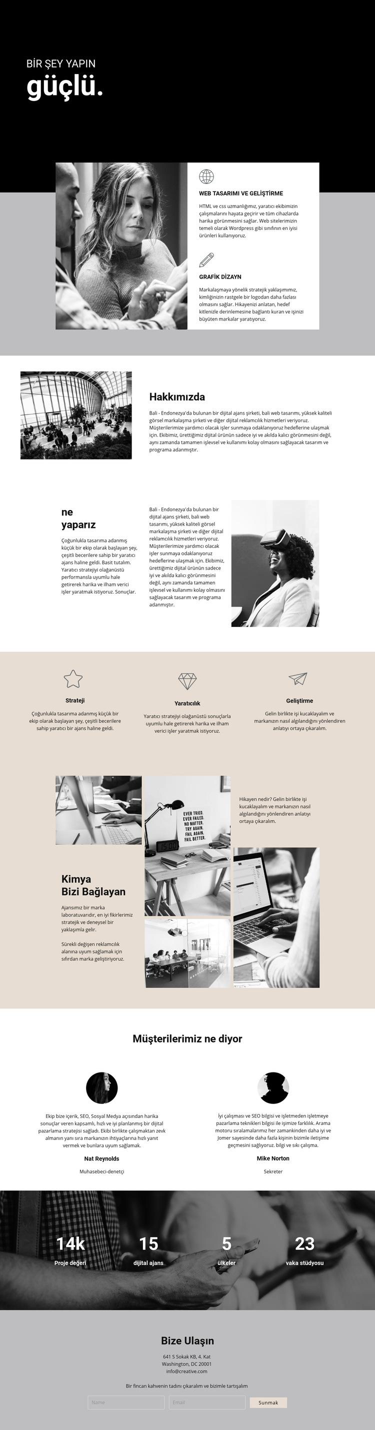 Dijital işin gücü Web Sitesi Şablonu