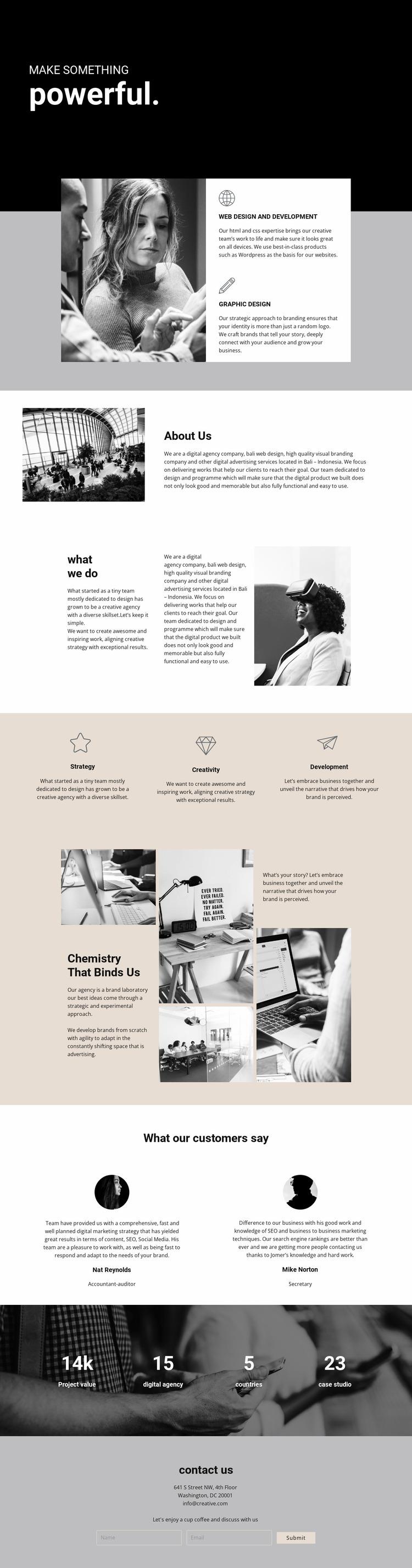 Power of digital business Website Mockup