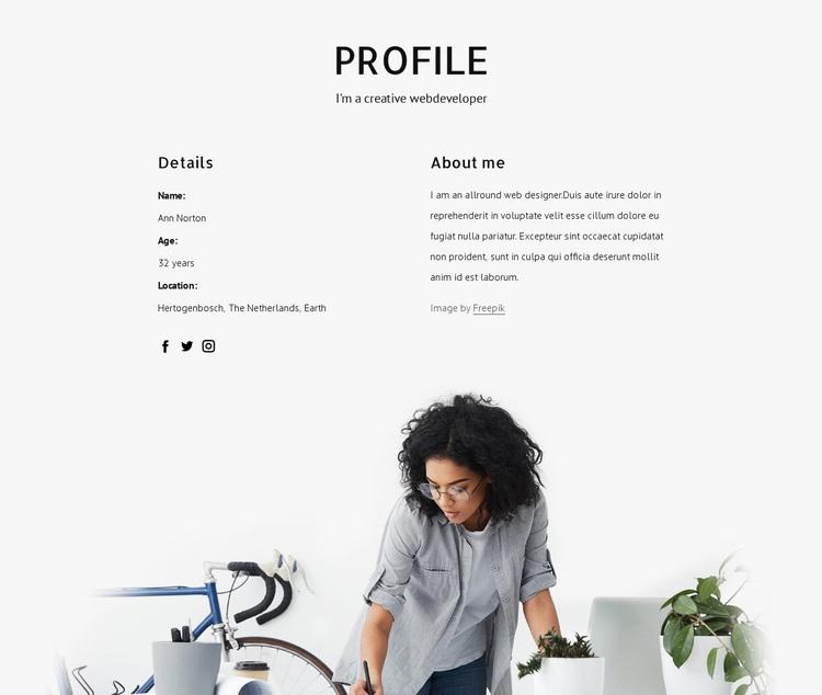 Web designer profile Joomla Page Builder