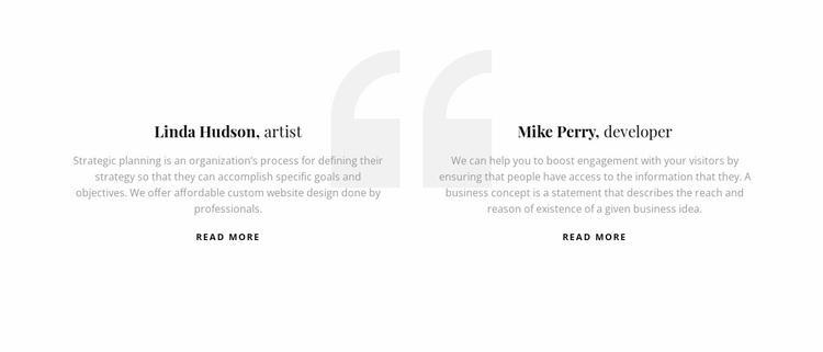 Testimonials with quote icon Website Design