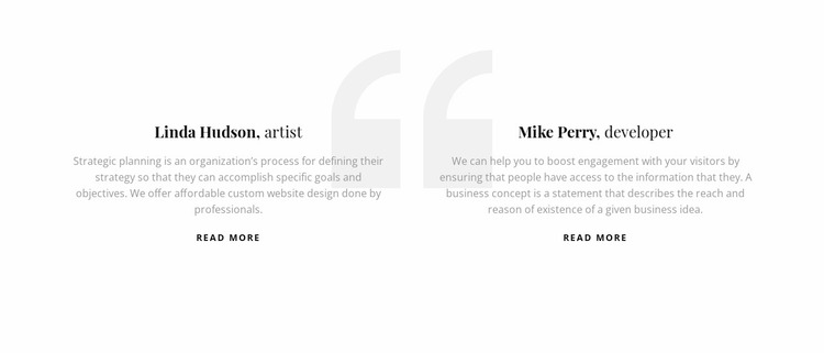 Testimonials with quote icon Website Mockup