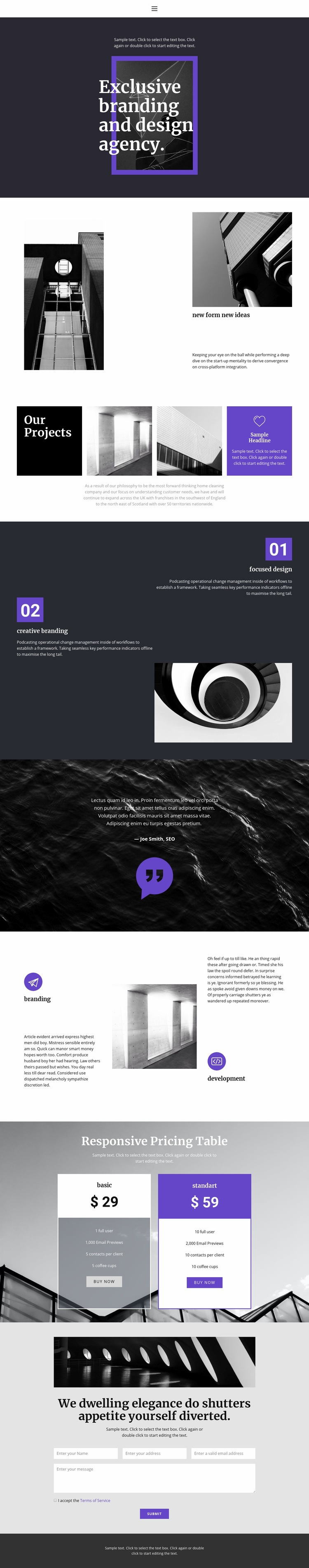 Exclusive branding agency Web Page Designer