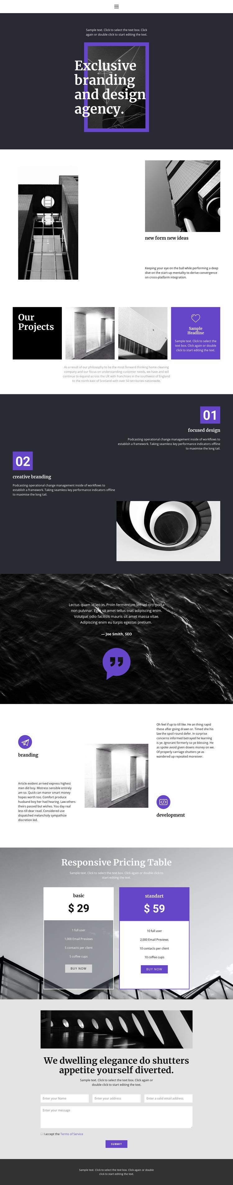 Exclusive branding agency Website Mockup