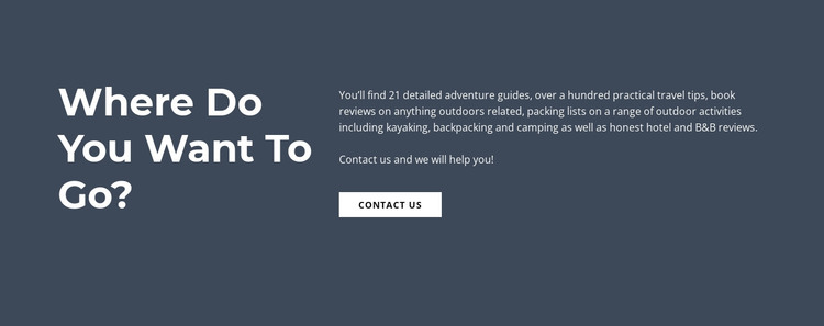 Text Where Do You Want to Go HTML Template