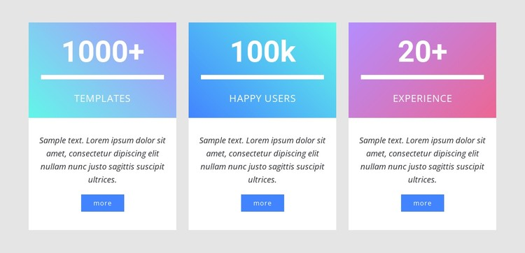 Number counters with gradient CSS Template