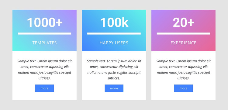 Number counters with gradient Homepage Design