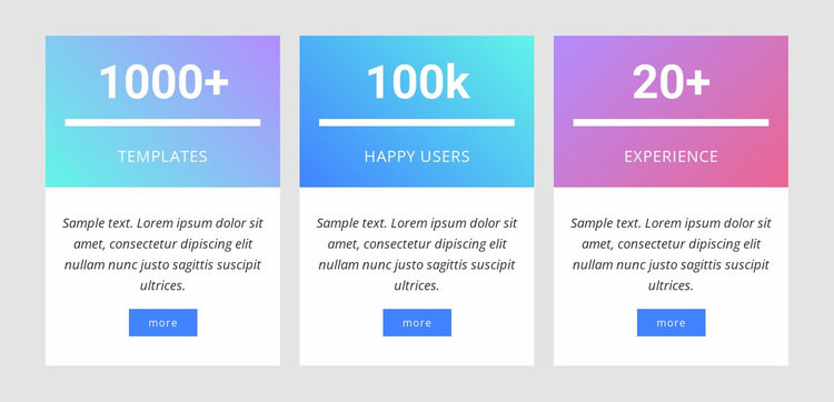 Number counters with gradient Website Builder Templates